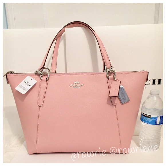 b95ee6887246 SALE New Coach Leather Ava Shoulder Tote Blush